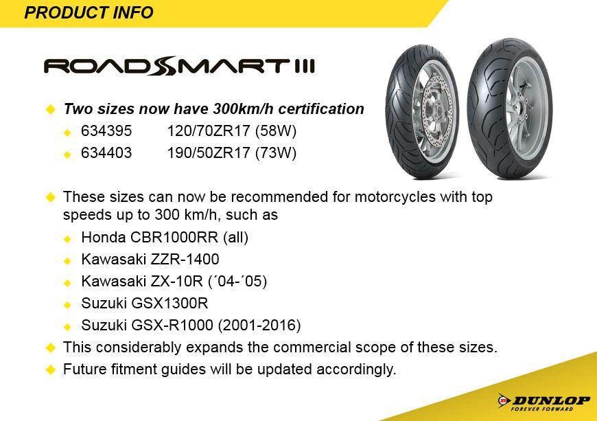 Dunlop Roadsmart 3 fitments